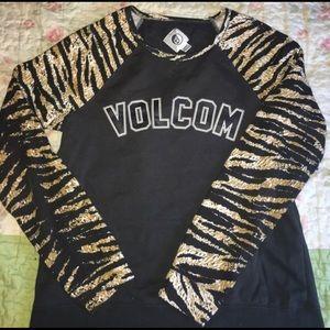 Volcom Tiger print crew neck size medium women's